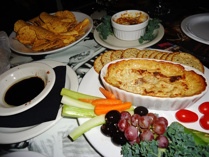 Creamy Artichoke Dip, Bread Basket and Chips and Cheese